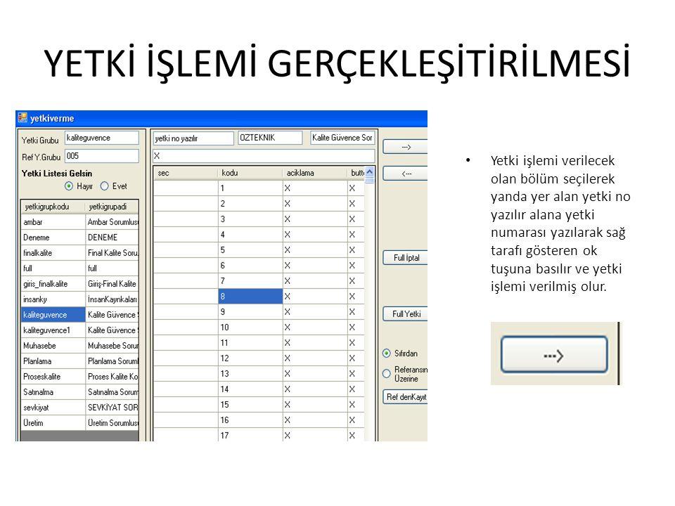 YETKİ İŞLEMİ GERÇEKLEŞİTİRİLMESİ Yetki işlemi verilecek olan bölüm seçilerek yanda yer alan yetki no yazılır alana yetki numarası yazılarak sağ tarafı