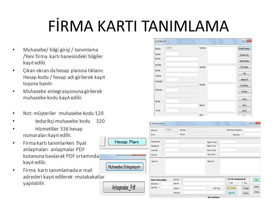 FİRMA KARTI TANIMLAMA Muhasebe/ bilgi girişi / tanımlama /Yeni firma kartı hanesindeki bilgiler kayıt edilir. Çıkan ekran da hesap planına tıklanır. H
