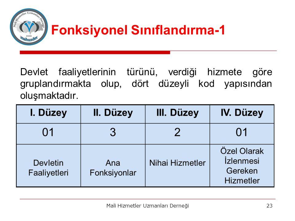 Fonksiyonel Sınıflandırma-1 Devlet faaliyetlerinin türünü, verdiği hizmete göre gruplandırmakta olup, dört düzeyli kod yapısından oluşmaktadır.