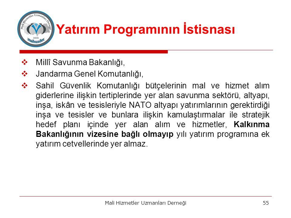 Yatırım Programının İstisnası  Millî Savunma Bakanlığı,  Jandarma Genel Komutanlığı,  Sahil Güvenlik Komutanlığı bütçelerinin mal ve hizmet alım giderlerine ilişkin tertiplerinde yer alan savunma sektörü, altyapı, inşa, iskân ve tesisleriyle NATO altyapı yatırımlarının gerektirdiği inşa ve tesisler ve bunlara ilişkin kamulaştırmalar ile stratejik hedef planı içinde yer alan alım ve hizmetler, Kalkınma Bakanlığının vizesine bağlı olmayıp yılı yatırım programına ek yatırım cetvellerinde yer almaz.