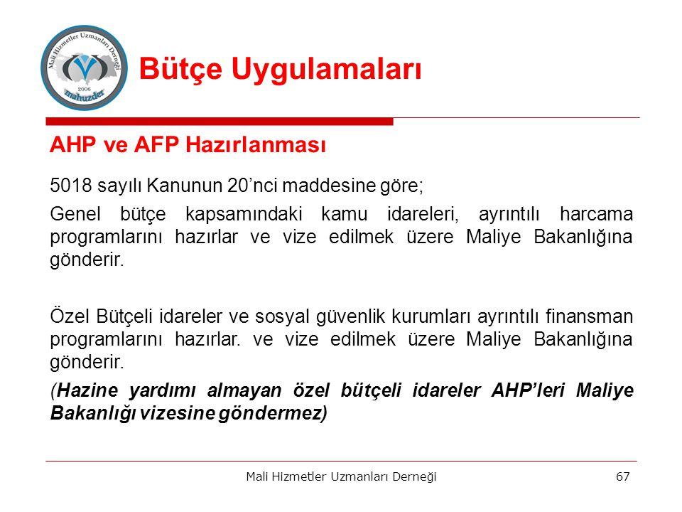 AHP ve AFP Hazırlanması 5018 sayılı Kanunun 20'nci maddesine göre; Genel bütçe kapsamındaki kamu idareleri, ayrıntılı harcama programlarını hazırlar ve vize edilmek üzere Maliye Bakanlığına gönderir.