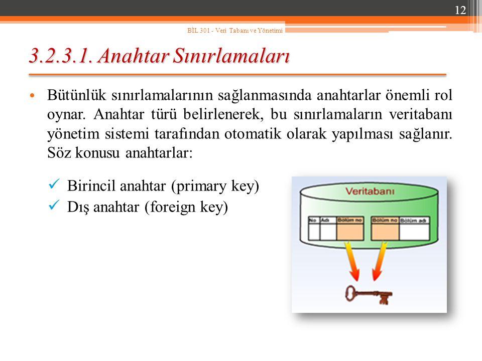 3.2.3.1. Anahtar Sınırlamaları Bütünlük sınırlamalarının sağlanmasında anahtarlar önemli rol oynar. Anahtar türü belirlenerek, bu sınırlamaların verit