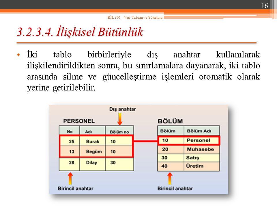 3.2.3.4. İlişkisel Bütünlük İki tablo birbirleriyle dış anahtar kullanılarak ilişkilendirildikten sonra, bu sınırlamalara dayanarak, iki tablo arasınd