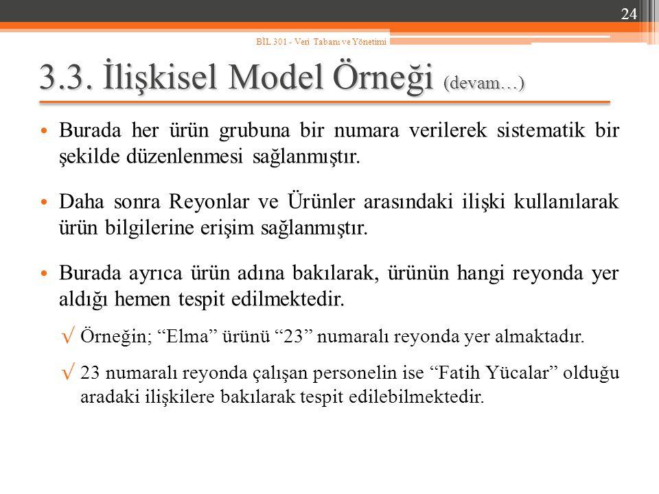 3.3. İlişkisel Model Örneği (devam…) Burada her ürün grubuna bir numara verilerek sistematik bir şekilde düzenlenmesi sağlanmıştır. Daha sonra Reyonla