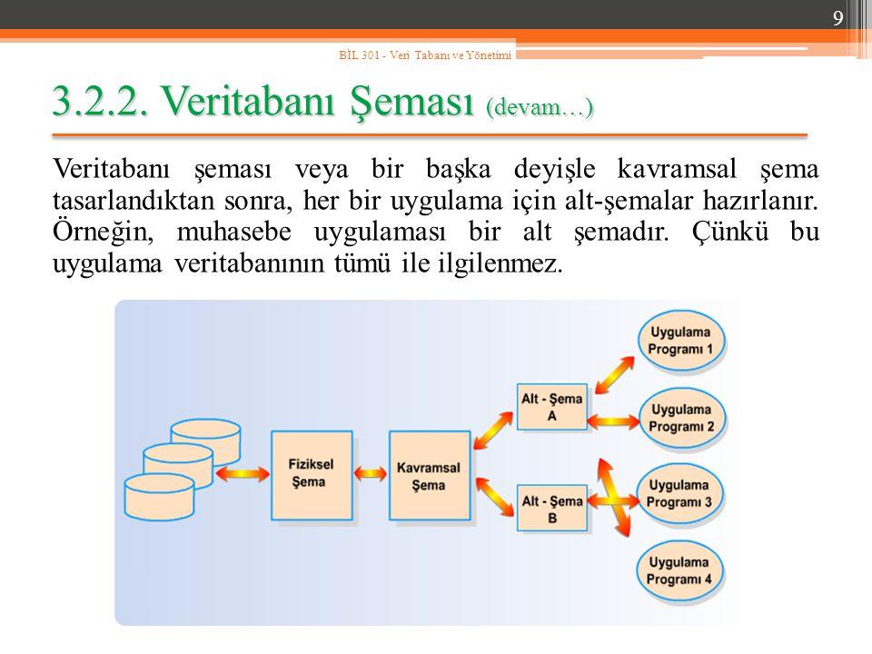 3.2.2. Veritabanı Şeması (devam…) Veritabanı şeması veya bir başka deyişle kavramsal şema tasarlandıktan sonra, her bir uygulama için alt-şemalar hazı