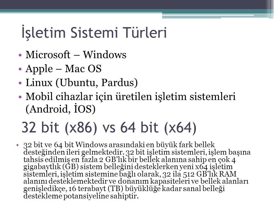 İşletim Sistemi Türleri Microsoft – Windows Apple – Mac OS Linux (Ubuntu, Pardus) Mobil cihazlar için üretilen işletim sistemleri (Android, İOS) 32 bi