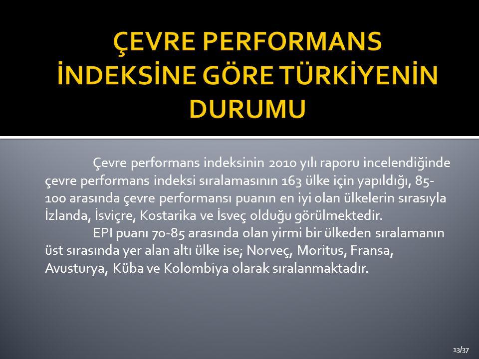 Çevre performans indeksinin 2010 yılı raporu incelendiğinde çevre performans indeksi sıralamasının 163 ülke için yapıldığı, 85- 100 arasında çevre performansı puanın en iyi olan ülkelerin sırasıyla İzlanda, İsviçre, Kostarika ve İsveç olduğu görülmektedir.