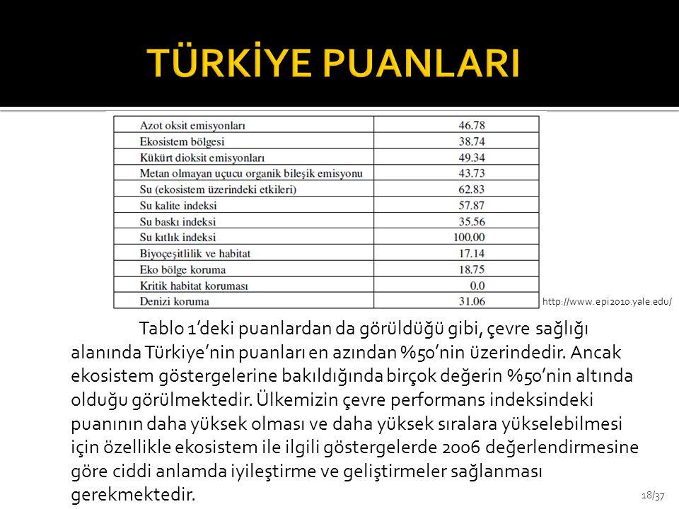 Tablo 1'deki puanlardan da görüldüğü gibi, çevre sağlığı alanında Türkiye'nin puanları en azından %50'nin üzerindedir. Ancak ekosistem göstergelerine