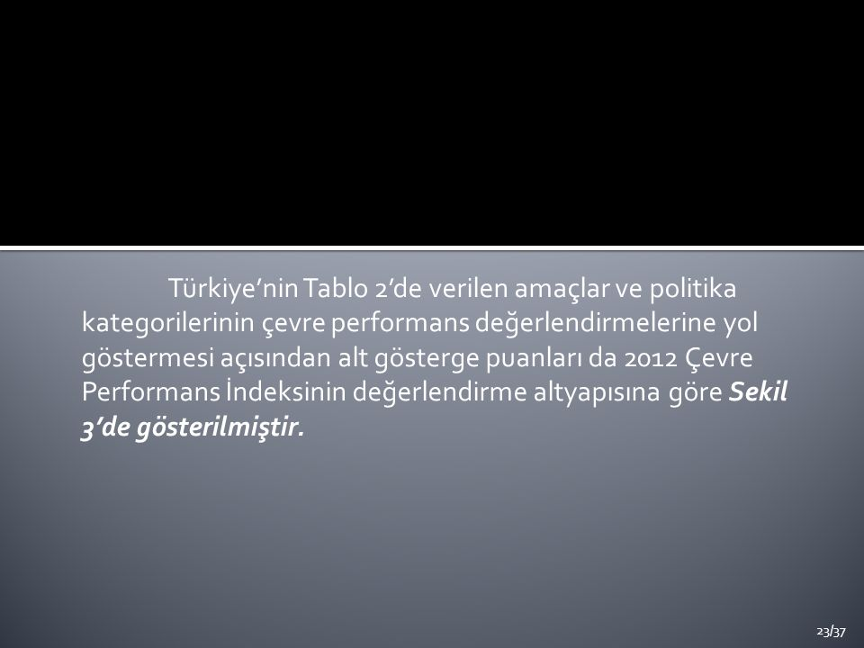 Türkiye'nin Tablo 2'de verilen amaçlar ve politika kategorilerinin çevre performans değerlendirmelerine yol göstermesi açısından alt gösterge puanları