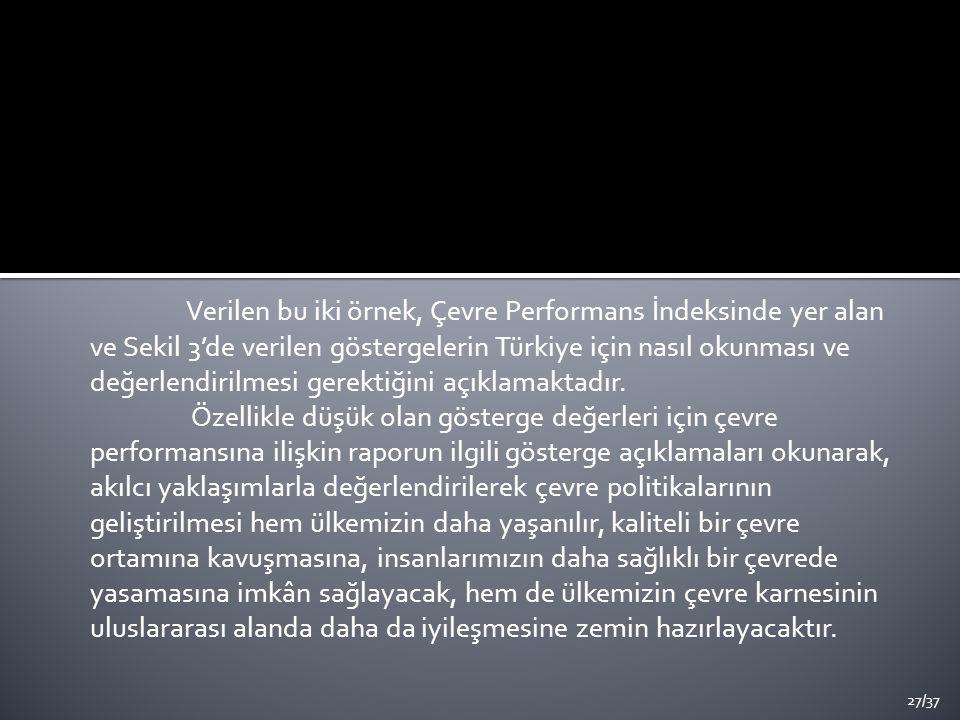 Verilen bu iki örnek, Çevre Performans İndeksinde yer alan ve Sekil 3'de verilen göstergelerin Türkiye için nasıl okunması ve değerlendirilmesi gerektiğini açıklamaktadır.