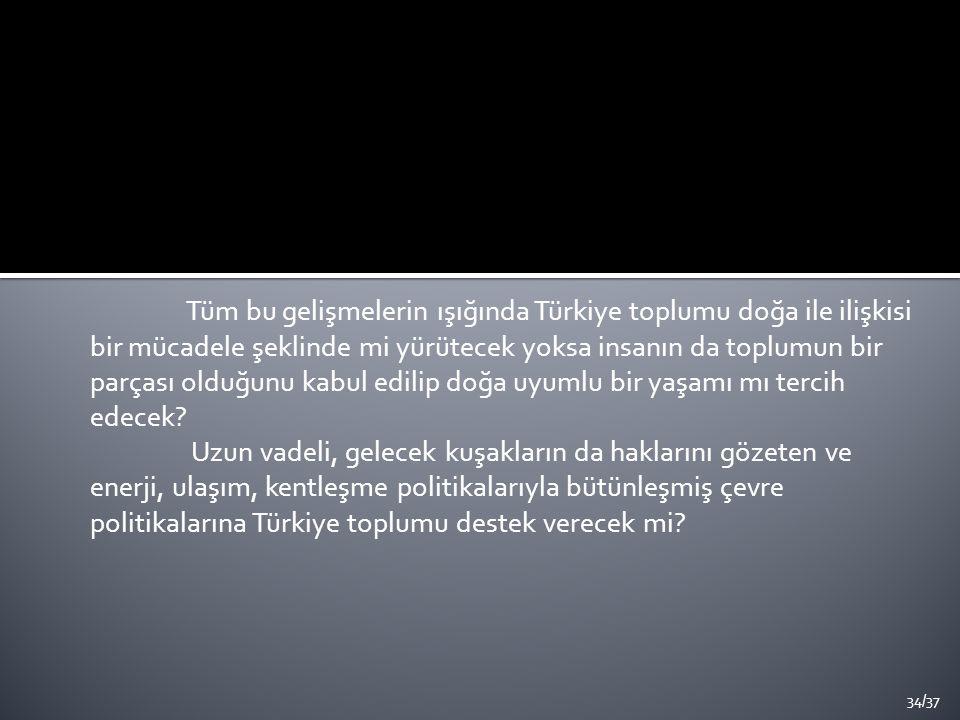 Tüm bu gelişmelerin ışığında Türkiye toplumu doğa ile ilişkisi bir mücadele şeklinde mi yürütecek yoksa insanın da toplumun bir parçası olduğunu kabul edilip doğa uyumlu bir yaşamı mı tercih edecek.