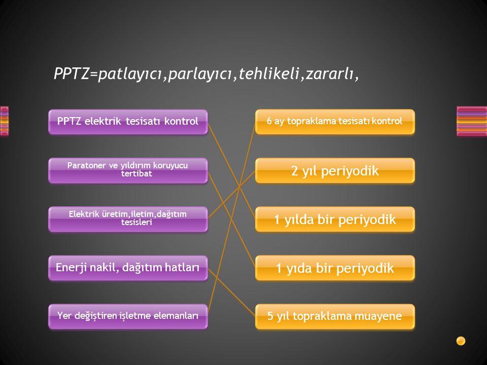 PPTZ=patlayıcı,parlayıcı,tehlikeli,zararlı, PPTZ elektrik tesisatı kontrol Paratoner ve yıldırım koruyucu tertibat Elektrik üretim,iletim,dağıtım tesi