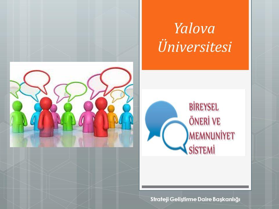 Strateji Geliştirme Daire Başkanlığı Yalova Üniversitesi
