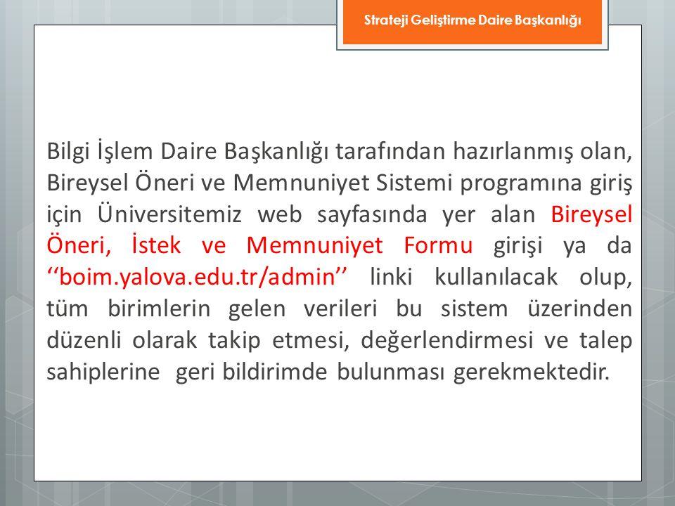 Bilgi İşlem Daire Başkanlığı tarafından hazırlanmış olan, Bireysel Öneri ve Memnuniyet Sistemi programına giriş için Üniversitemiz web sayfasında yer
