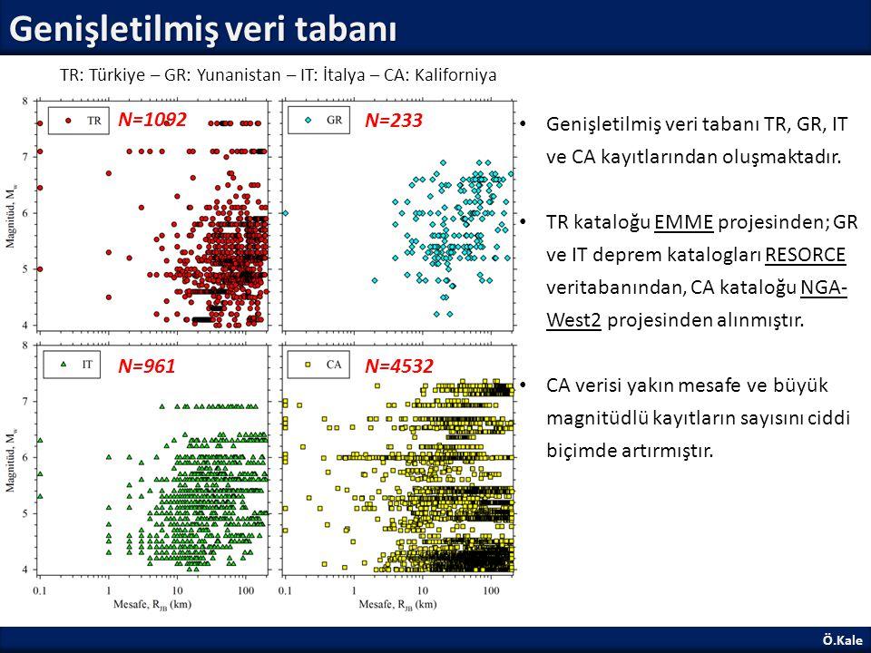 Ö.Kale Genişletilmiş veri tabanı: M w -R JB kümeleri M w -R JB kümeleri YHTD'lerin daha spesifik aralıklarda değerlendirilmesine olanak sağlamaktadır.