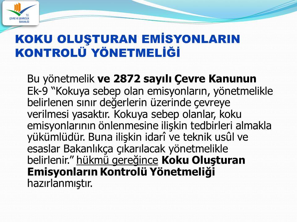 Türkiye'de koku ile ilgili şikayetleri engellemek amacıyla koku oluşturan emisyonların kontrolüne ve azaltılmasına yönelik idari ve teknik usul ve esasları düzenlemektir.