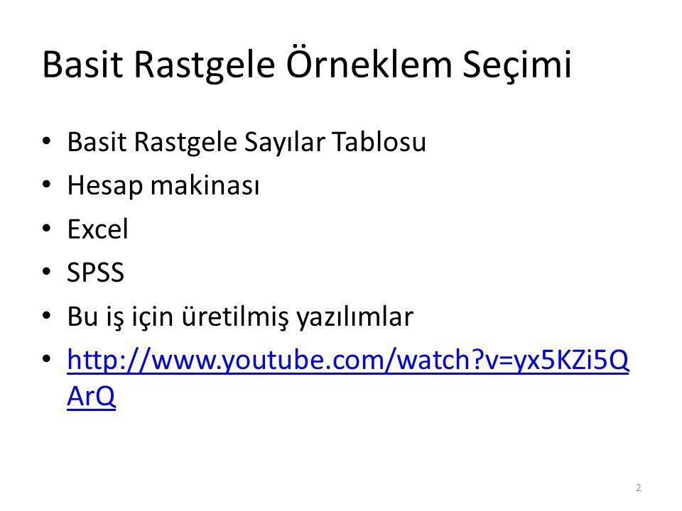 Basit Rastgele Örneklem Seçimi Basit Rastgele Sayılar Tablosu Hesap makinası Excel SPSS Bu iş için üretilmiş yazılımlar http://www.youtube.com/watch?v