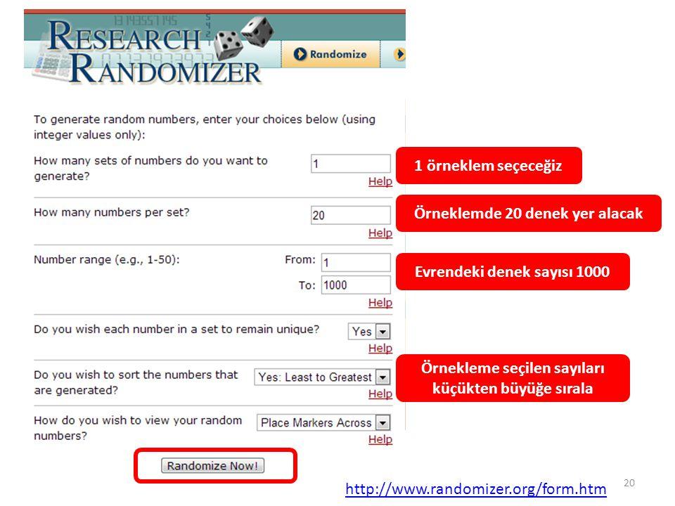 1 örneklem seçeceğiz Örneklemde 20 denek yer alacak Evrendeki denek sayısı 1000 Örnekleme seçilen sayıları küçükten büyüğe sırala http://www.randomize