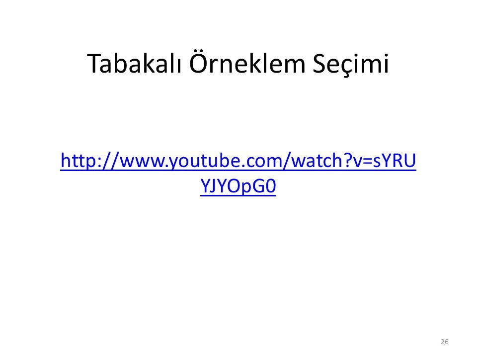 Tabakalı Örneklem Seçimi http://www.youtube.com/watch?v=sYRU YJYOpG0 26
