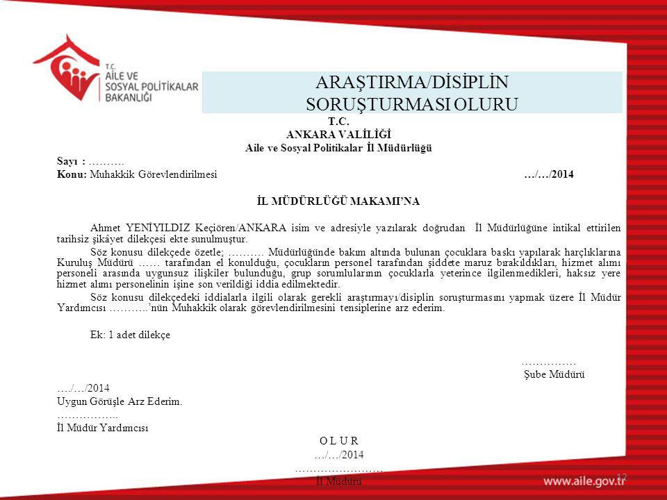 ARAŞTIRMA/DİSİPLİN SORUŞTURMASI OLURU 12 T.C.
