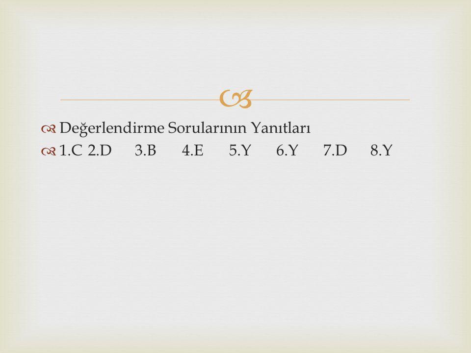   Değerlendirme Sorularının Yanıtları  1.C2.D3.B4.E5.Y6.Y7.D8.Y