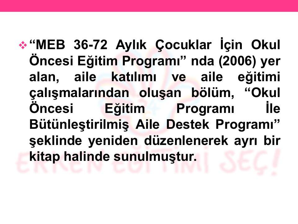 """ """"MEB 36-72 Aylık Çocuklar İçin Okul Öncesi Eğitim Programı"""" nda (2006) yer alan, aile katılımı ve aile eğitimi çalışmalarından oluşan bölüm, """"Okul Ö"""