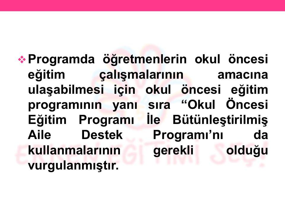 Etkinlik Kitabı ve Okul Öncesi Eğitim Programı İle Bütünleştirilmiş Aile Destek Programı Kitabı Programın materyalleri olduğundan TTKB sayfasında yayınlanmamıştır.