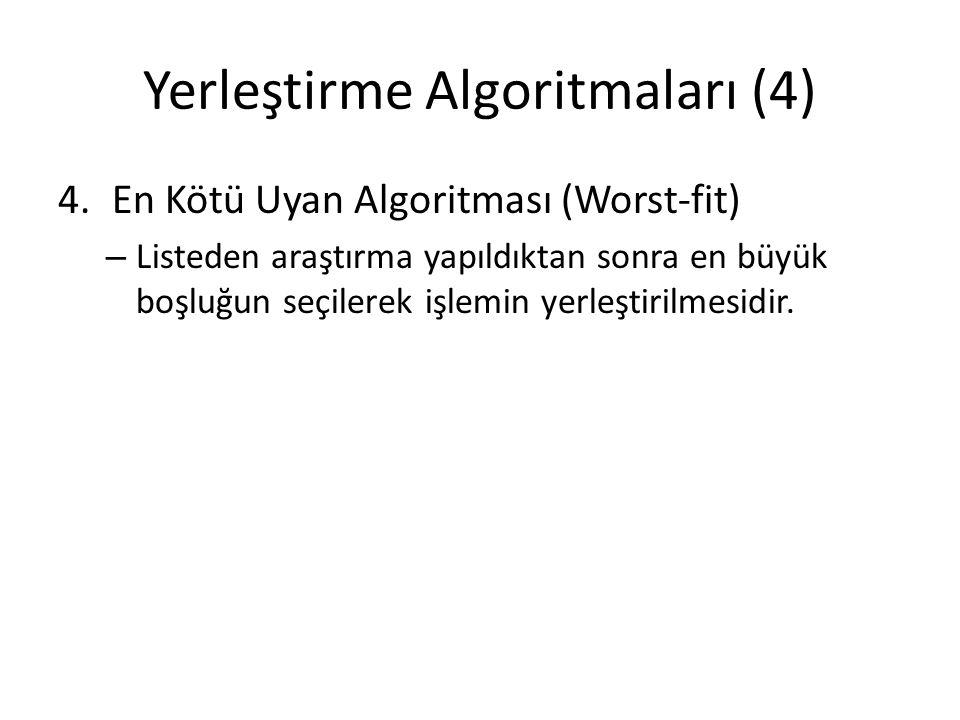 Yerleştirme Algoritmaları (4) 4.En Kötü Uyan Algoritması (Worst-fit) – Listeden araştırma yapıldıktan sonra en büyük boşluğun seçilerek işlemin yerleştirilmesidir.
