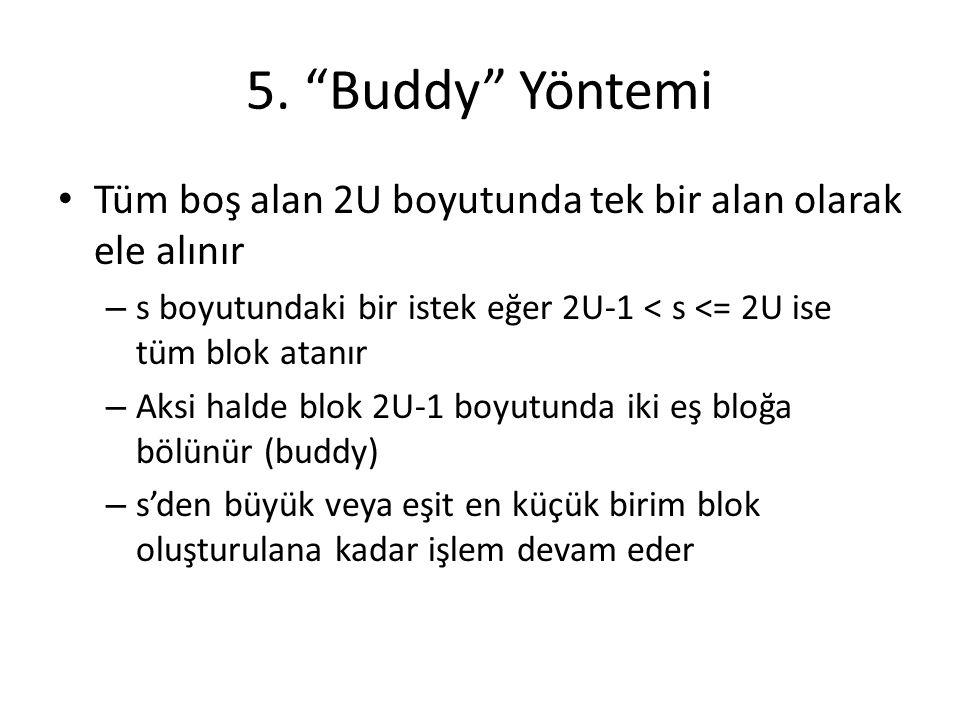 """5. """"Buddy"""" Yöntemi Tüm boş alan 2U boyutunda tek bir alan olarak ele alınır – s boyutundaki bir istek eğer 2U-1 < s <= 2U ise tüm blok atanır – Aksi h"""