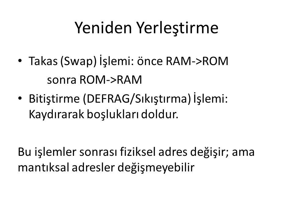 Yeniden Yerleştirme Takas (Swap) İşlemi: önce RAM->ROM sonra ROM->RAM Bitiştirme (DEFRAG/Sıkıştırma) İşlemi: Kaydırarak boşlukları doldur.