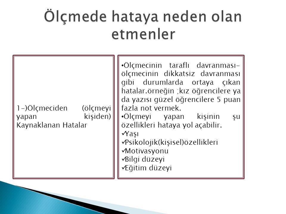 1-)Ölçmeciden (ölçmeyi yapan kişiden) Kaynaklanan Hatalar Ölçmecinin taraflı davranması- ölçmecinin dikkatsiz davranması gibi durumlarda ortaya çıkan