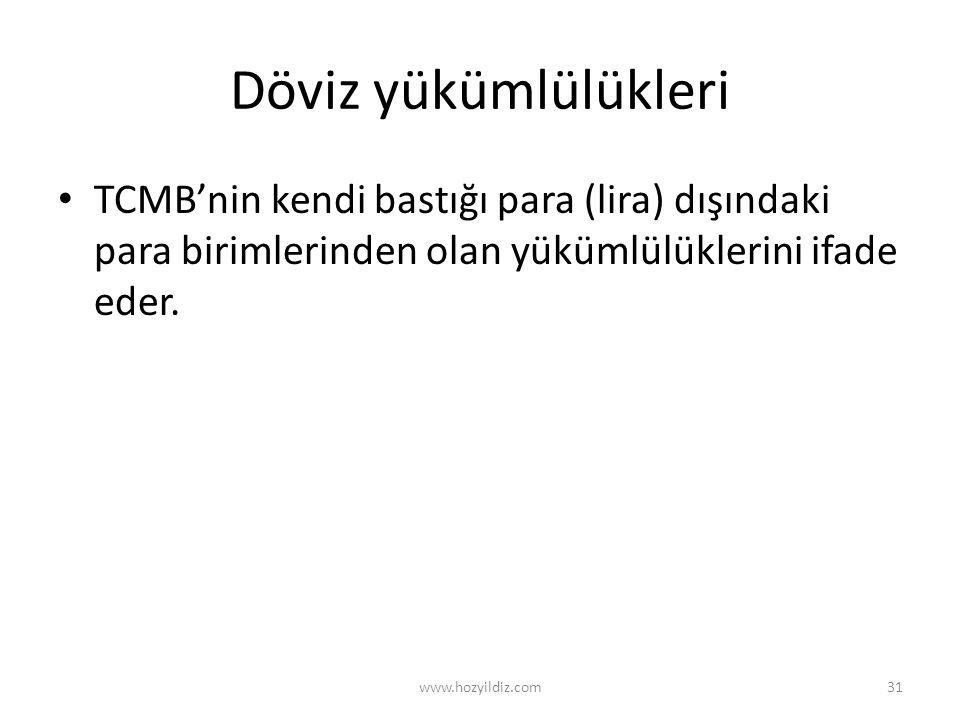 Döviz yükümlülükleri TCMB'nin kendi bastığı para (lira) dışındaki para birimlerinden olan yükümlülüklerini ifade eder. www.hozyildiz.com31