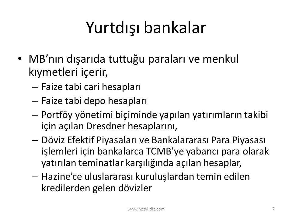 Yurtdışı bankalar MB'nın dışarıda tuttuğu paraları ve menkul kıymetleri içerir, – Faize tabi cari hesapları – Faize tabi depo hesapları – Portföy yöne
