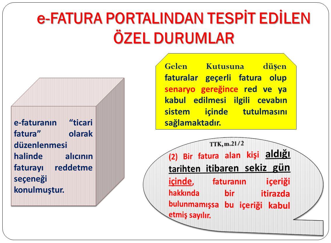 e-FATURA PORTALINDAN TESPİT EDİLEN ÖZEL DURUMLAR e-Fatura portalında fatura ikiye ayrılmaktadır: 1- Satış Faturası, 2- İade faturası, e-Fatura portalı