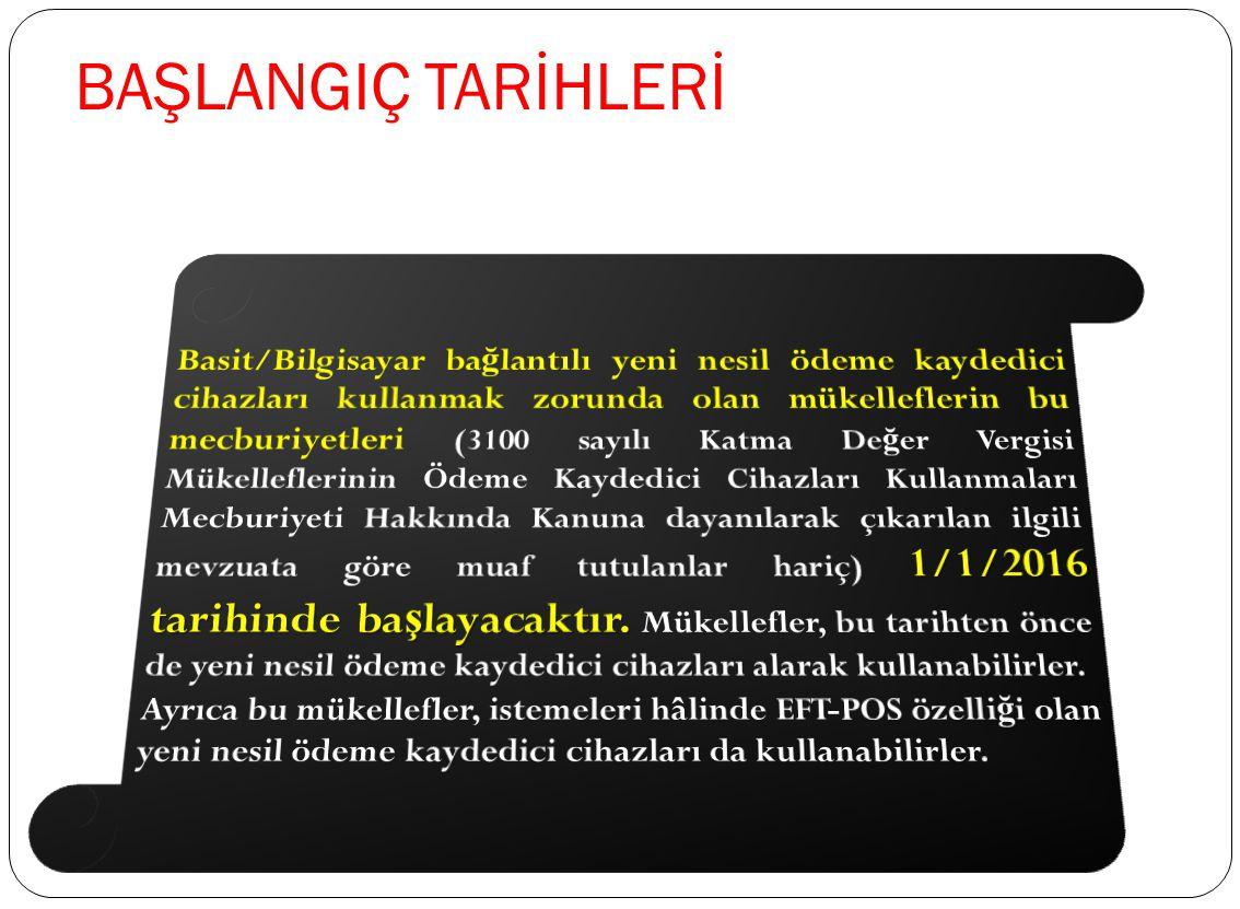 YENİ NESİL ÖDEME KAYDEDİCİ CİHAZLARI KULLANMA MECBURİYETİNİN BAŞLAMA TARİHLERİ Faaliyetlerinde seyyar EFT-POS cihazı kullananlar 1/10/2013 Faaliyetler