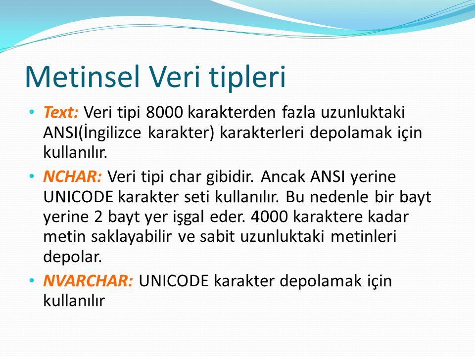 Metinsel Veri tipleri Text: Veri tipi 8000 karakterden fazla uzunluktaki ANSI(İngilizce karakter) karakterleri depolamak için kullanılır. NCHAR: Veri