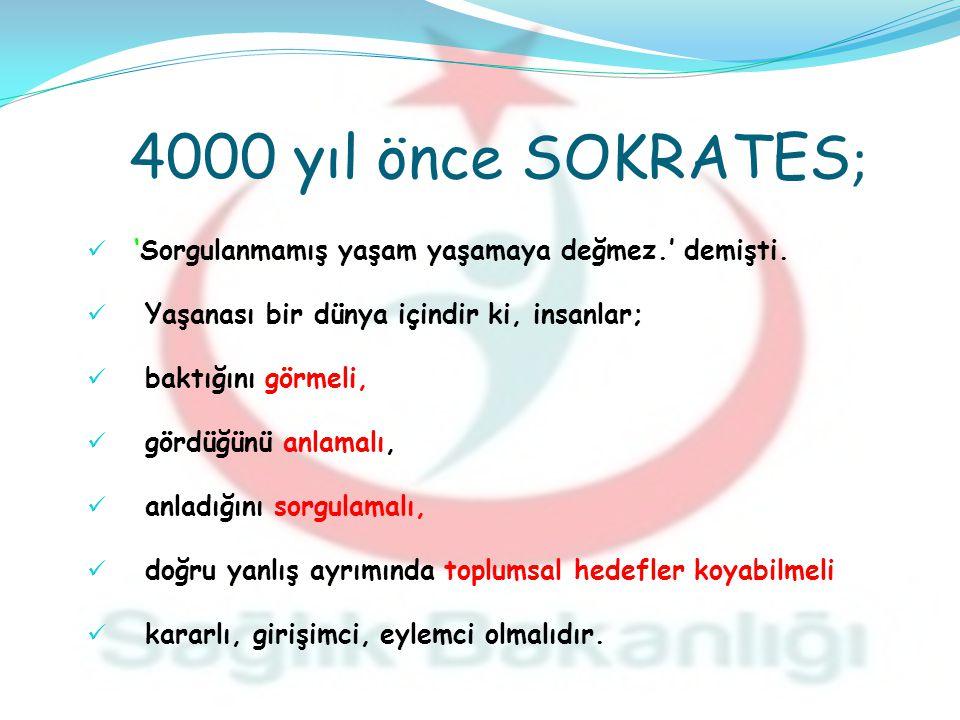 4000 yıl önce SOKRATES ; 'Sorgulanmamış yaşam yaşamaya değmez.' demişti.