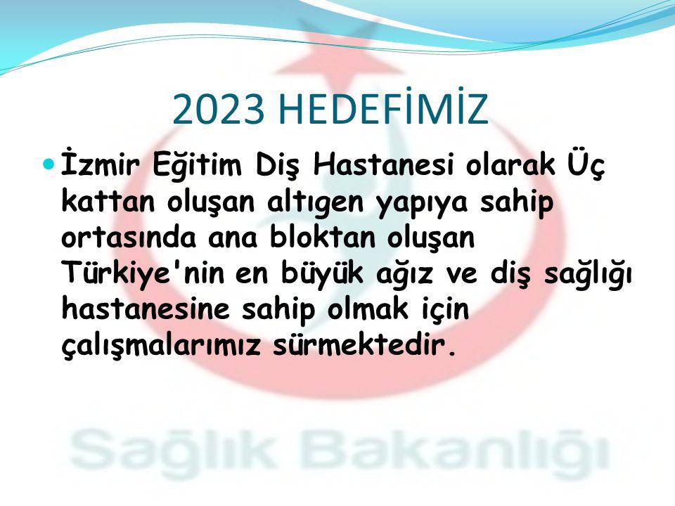 2023 HEDEFİMİZ İzmir Eğitim Diş Hastanesi olarak Üç kattan oluşan altıgen yapıya sahip ortasında ana bloktan oluşan Türkiye nin en büyük ağız ve diş sağlığı hastanesine sahip olmak için çalışmalarımız sürmektedir.