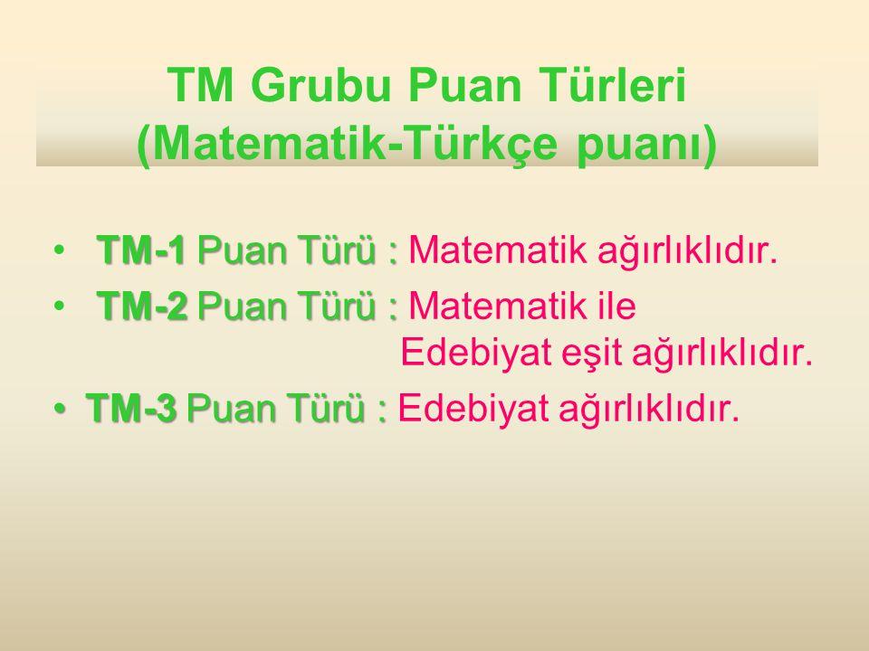 TM Grubu Puan Türleri (Matematik-Türkçe puanı) TM-1 Puan Türü : TM-1 Puan Türü : Matematik ağırlıklıdır. TM-2 Puan Türü : TM-2 Puan Türü : Matematik i