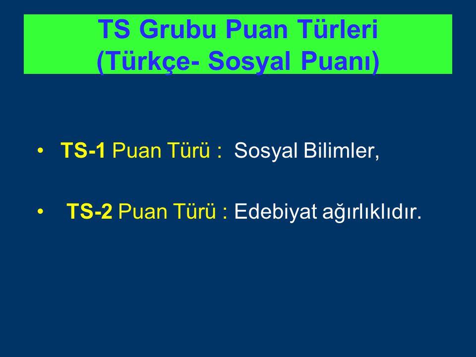 TS Grubu Puan Türleri (Türkçe- Sosyal Puanı) TS-1 Puan Türü : Sosyal Bilimler, TS-2 Puan Türü : Edebiyat ağırlıklıdır.