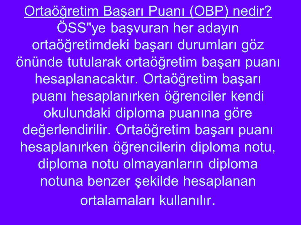 Ortaöğretim Başarı Puanı (OBP) nedir? ÖSS