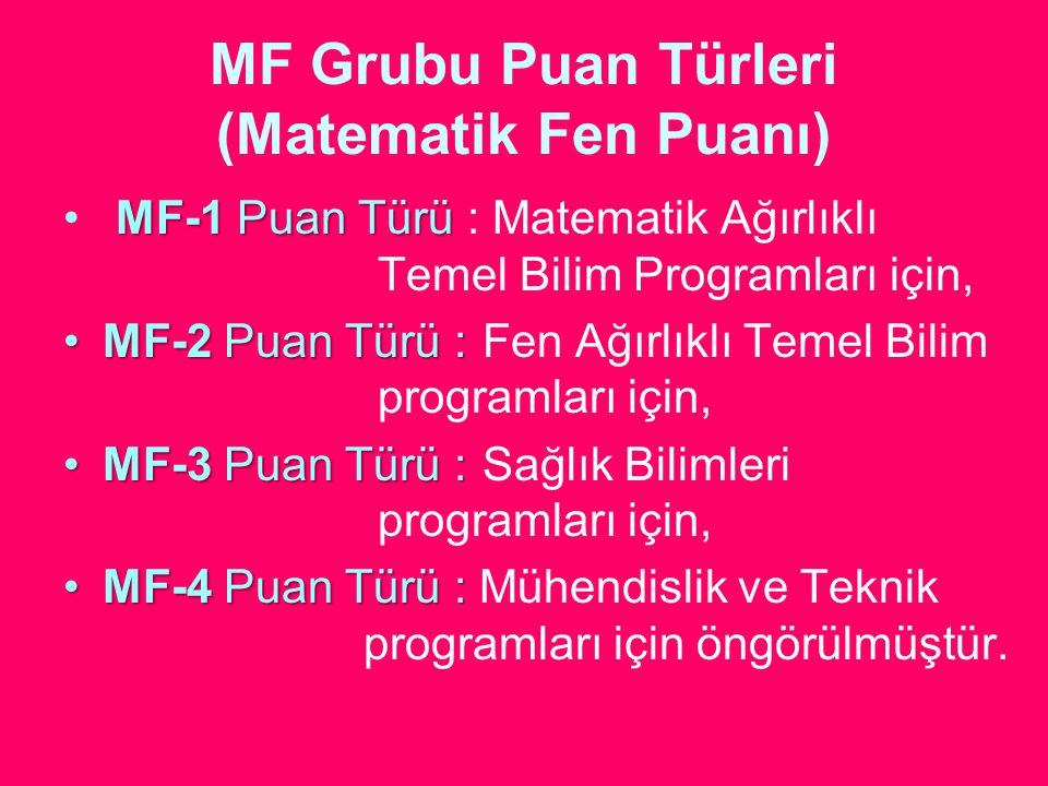 MF Grubu Puan Türleri (Matematik Fen Puanı) MF-1 Puan Türü MF-1 Puan Türü : Matematik Ağırlıklı Temel Bilim Programları için, MF-2 Puan Türü :MF-2 Pua