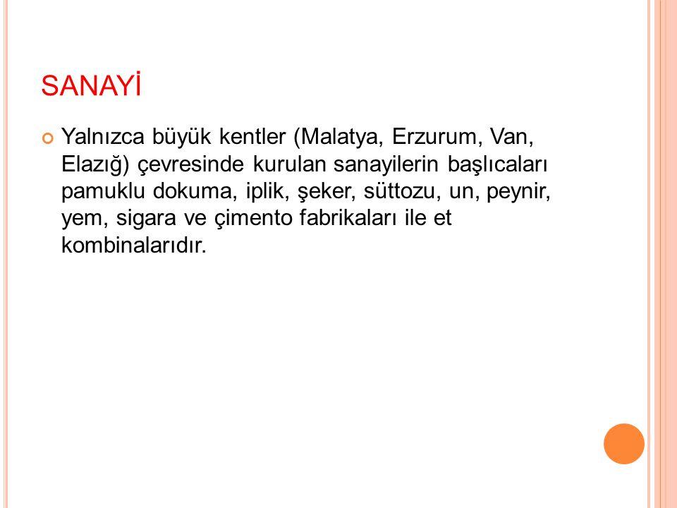 SANAYİ Yalnızca büyük kentler (Malatya, Erzurum, Van, Elazığ) çevresinde kurulan sanayilerin başlıcaları pamuklu dokuma, iplik, şeker, süttozu, un, pe