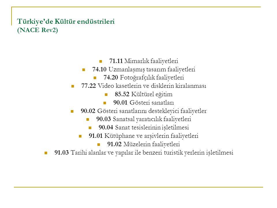 Türkiye'de Kültür endüstrileri (NACE Rev2) 71.11 Mimarlık faaliyetleri 74.10 Uzmanlaşmış tasarım faaliyetleri 74.20 Fotoğrafçılık faaliyetleri 77.22 Video kasetlerin ve disklerin kiralanması 85.52 Kültürel eğitim 90.01 Gösteri sanatları 90.02 Gösteri sanatlarını destekleyici faaliyetler 90.03 Sanatsal yaratıcılık faaliyetleri 90.04 Sanat tesislerinin işletilmesi 91.01 Kütüphane ve arşivlerin faaliyetleri 91.02 Müzelerin faaliyetleri 91.03 Tarihi alanlar ve yapılar ile benzeri turistik yerlerin işletilmesi