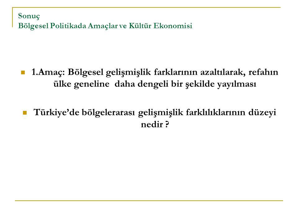 Sonuç Bölgesel Politikada Amaçlar ve Kültür Ekonomisi 1.Amaç: Bölgesel gelişmişlik farklarının azaltılarak, refahın ülke geneline daha dengeli bir şekilde yayılması Türkiye'de bölgelerarası gelişmişlik farklılıklarının düzeyi nedir ?