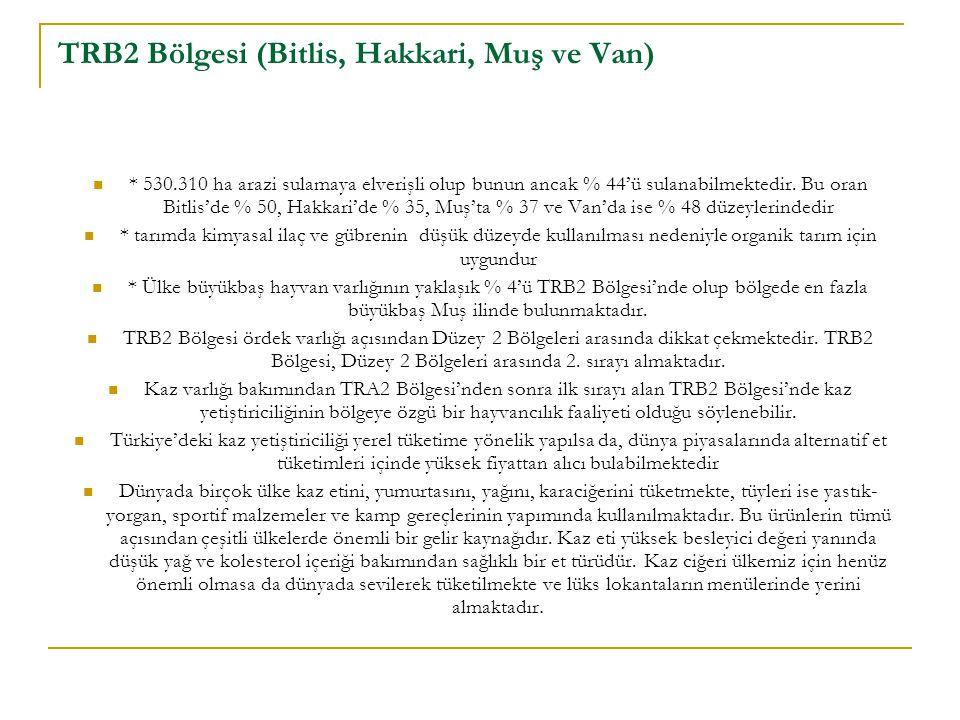 TRB2 Bölgesi (Bitlis, Hakkari, Muş ve Van) * 530.310 ha arazi sulamaya elverişli olup bunun ancak % 44'ü sulanabilmektedir. Bu oran Bitlis'de % 50, Ha