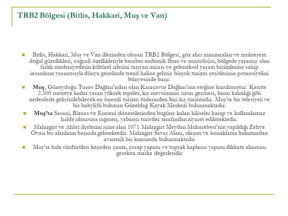TRB2 Bölgesi (Bitlis, Hakkari, Muş ve Van) Bitlis, Hakkari, Muş ve Van illerinden oluşan TRB2 Bölgesi, göz alıcı manzaraları ve muhteşem doğal güzelli