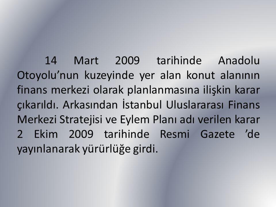 14 Mart 2009 tarihinde Anadolu Otoyolu'nun kuzeyinde yer alan konut alanının finans merkezi olarak planlanmasına ilişkin karar çıkarıldı. Arkasından İ