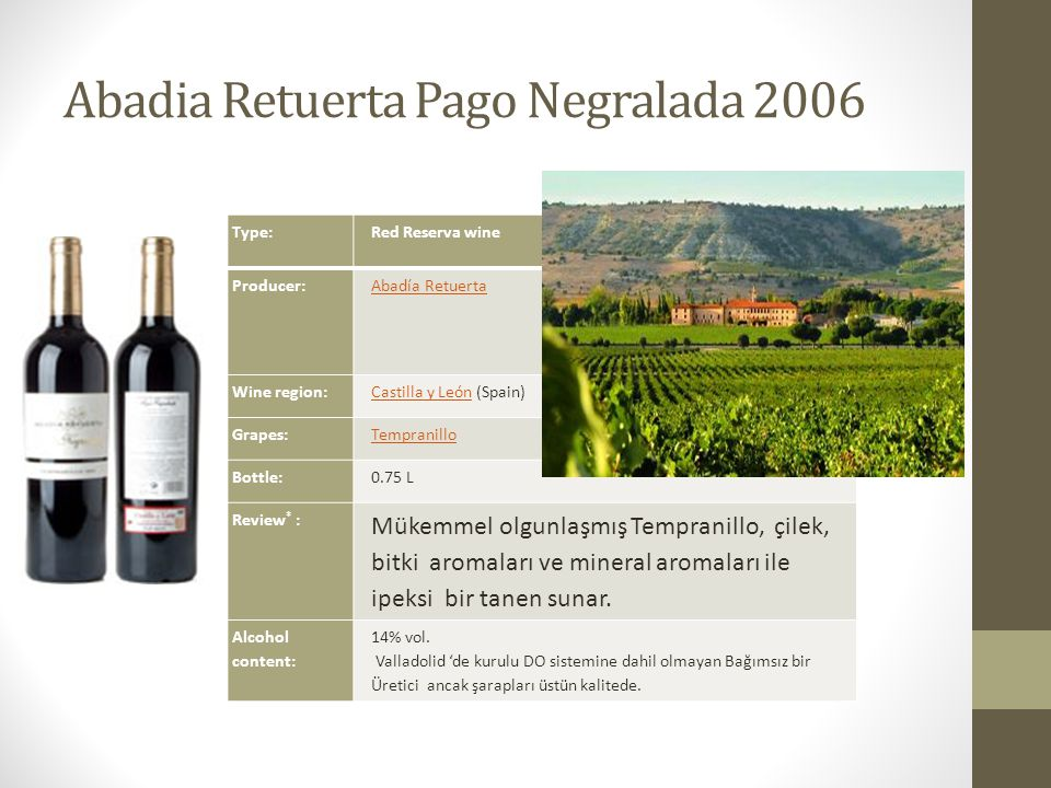 Abadia Retuerta Pago Negralada 2006 Type:Red Reserva wine Producer:Abadía Retuerta Wine region:Castilla y LeónCastilla y León (Spain) Grapes:Tempranil
