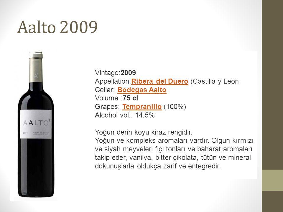 Aalto 2009 Vintage:2009 Appellation:Ribera del Duero (Castilla y LeónRibera del Duero Cellar: Bodegas AaltoBodegas Aalto Volume :75 cl Grapes: Tempranillo (100%)Tempranillo Alcohol vol.: 14.5% Yoğun derin koyu kiraz rengidir.